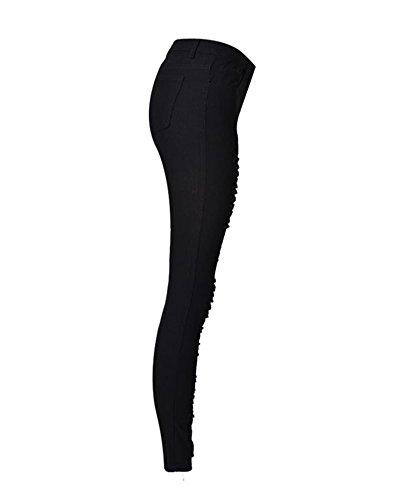 Pantalones Mujer Jeans Pantalones De Lápiz Rotos Ajuste Delgado Cintura Alta Rotos Agujero Tejanos Negro
