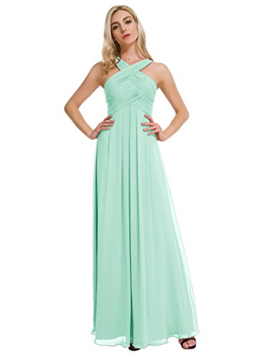 - Alicepub Pleated Chiffon Bridesmaid Dresses Formal Party Evening Gown Maxi Dress for Women, Mint Green, US4