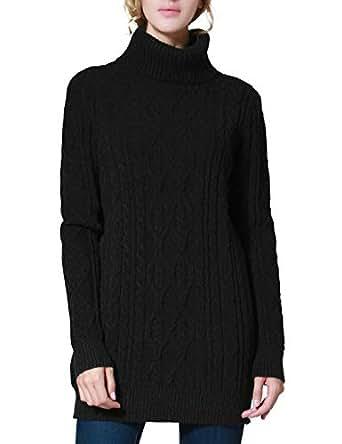 PrettyGuide Women's Long Sweater Turtleneck Pullover Tunic Sweater Tops XS Black