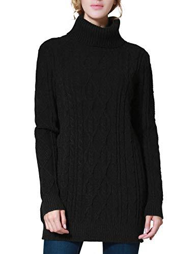 PrettyGuide Women's Long Sweater Turtleneck Pullover Tunic Sweater Tops L Black