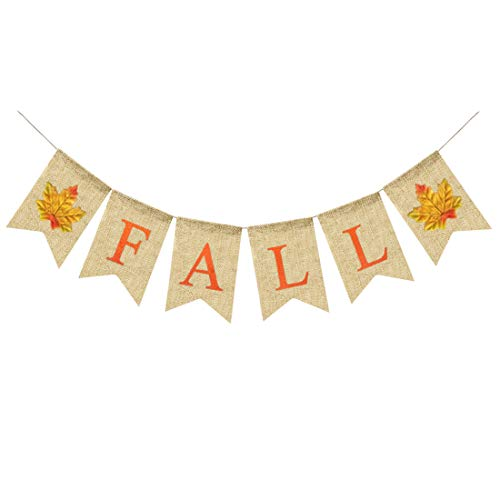 Uniwish Fall Banner Burlap Bunting with Maple Leaves Thanksgiving Party Decorations, Rustic Garland Happy Fall Yall Sign Photo Booth Props -