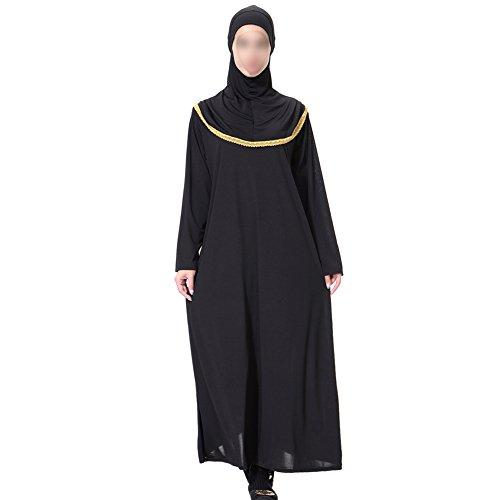 Xinvision Femmes Moyen-orient Musulman Robe Maxi Caftan Arabe Avec Des Filles Modestes Robe Hijab Islamic Pleine Longueur De Vêtements De Vêtements Ethniques De Abaya Portent Pour Le Ramadan, L'or Th904