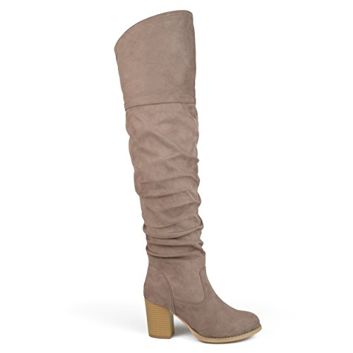(Brinley Co. Womens Regular Wide Calf and Extra Wide Calf Ruched Stacked Heel Faux Suede Over-The-Knee Boots Taupe, 6 Extra Wide Calf US)