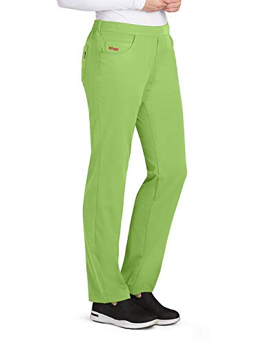 Grey's Anatomy GRSP510 Women's 5 Pocket Flat Front Logo Back Scrub Pants Kiwi M -