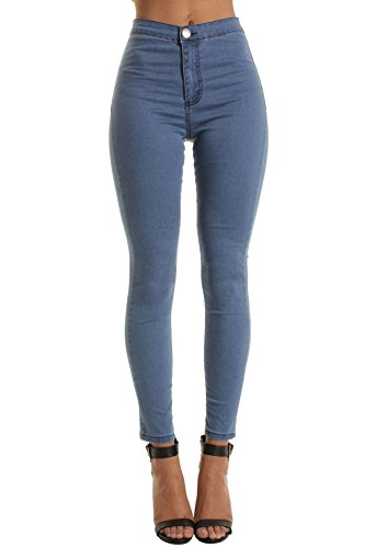 Portobello Punk High Waisted Skinny Jeans in White | Black | Camouflage | Wine | Shades of Blue Light Blue Denim