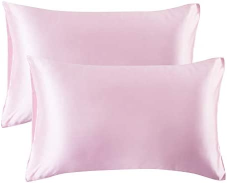 Bedsure Satin Pillowcase for Hair and Skin Silk Pillowcase 2 Pack - Queen Size (Pink, 20x30 inches) Pillow Cases Set of two - Slip Cooling Satin Pillow Covers with Envelope Closure