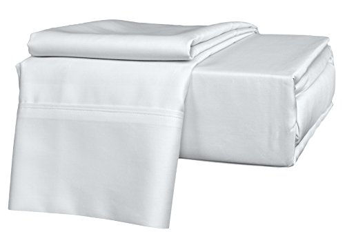 Brielle 630 Thread Count Egyptian Cotton Sateen Premium 600 Plus Sheet Set, Queen, White (Beste Brille Fall)