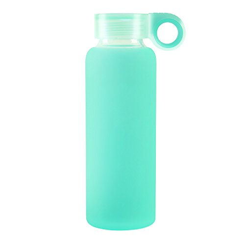 Nobvan Glass Water Bottle with Colorful Soft Silicone Sleeve Sports Camping Canteen Outdoors Creative Cup Children Couples Silicone Antiskid Kettle Glass-300ml(10oz) (azure, - Claire Marie Glasses