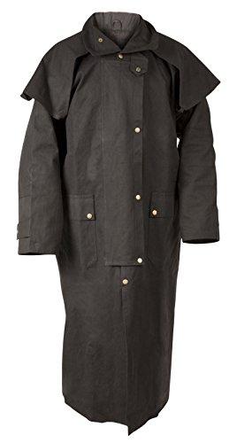 NEW OUTBACK BLACK WESTERN OILSKIN WATERPROOF AUSTRALIAN DUSTER COAT (Australian Costume For Men)