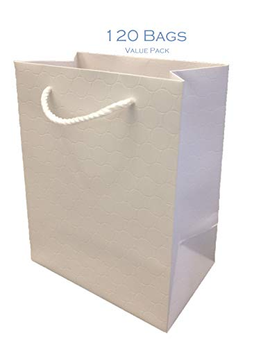 White Gift Bags with Handles 12 Pack Medium 8 x 5 x 10 Premium Heavy Duty 250 g Quality Paper Merchandise Elegant Embossed Euro Tote for Wedding, Baby Shower Modeeni (White, 120 Bags - Bulk)