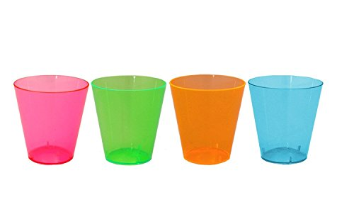 Party Essentials Hard Plastic 2-Ounce Shot/Shooter Glasses, 80-Count, Assorted Neon (Shooter Shot)