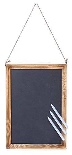 Juvale Wooden Framed Chalkboard Sign  Decorative Hanging Slate Chalk Board with Hemp String  for Restaurants Weddings Home More  3 Chalks Included 10 x 14 Inches