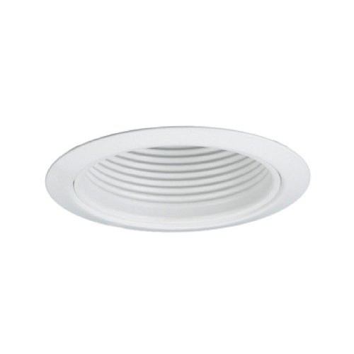 Jesco Lighting TM5509WHWH 5-Inch Aperture Line Voltage Trim Recessed Light, Metal Step Baffle, All White ()