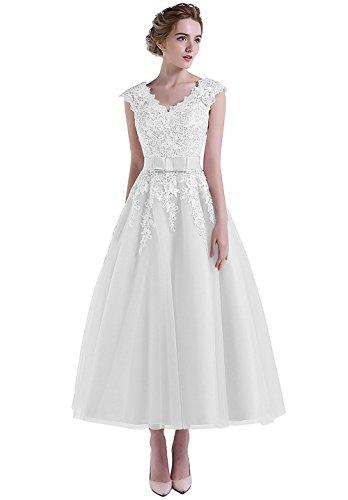 Amore Bridal Women's V neck Knee Length Lace Short Wedding Dress Princess Prom Gown