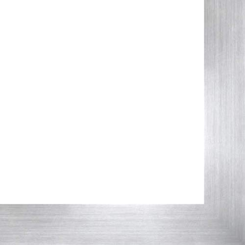 Metallic Wood Frame - 9x12 Silver Metallic Wood Frame - 'Brushed Steel' Medium - Great for Posters, Photos, Art Prints, Mirror, Chalk Boards, Cork Boards and Marker Boards