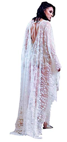 Lace Top Romantic - Kimono White lace Kimono Embroidered Lace Cardigan with Half Sleeves (One Size,Z-White)