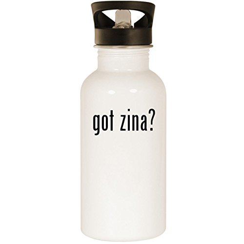 got zina? - Stainless Steel 20oz Road Ready Water Bottle, White ()