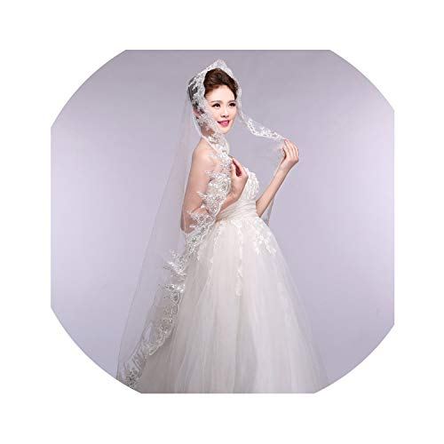 3 Meter onelayer Ivory Bridal Veils Lace Edge Tulle Bling Sequins Wedding - Aire Bel Bridal