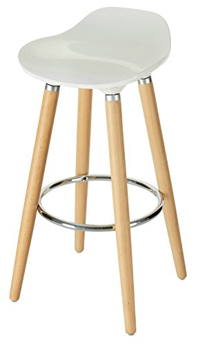 Orolay ABS Plastic Bar Stools Kitchen Breakfast Barstool with Wooden Legs (White) (Breakfast Stool)