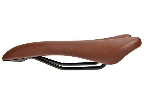 Hysenm Concave PU Ergonomic Shock Absorbent Road Mountain Bike MTB Seat Saddle, brown