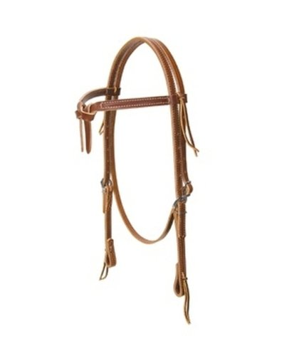 Weaver Deluxe Latigo Leather Knotted Browband Headstall - Size:Horse Color:Brown ()