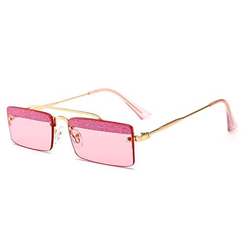 AAMOUSE Retro Small Rectangle Sunglasses Men Summer Candy Colors Design Sequins Rimless Sunglasses for Women Unisex