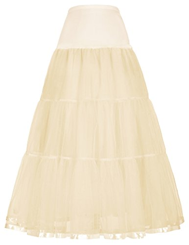 GRACE KARIN Lady Tutu Skirts Petticoats for Halloween Costume (M,Champagne)