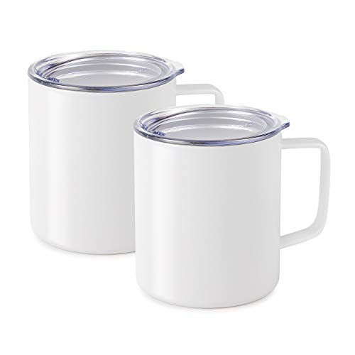 Maars Drinkware 79711-2PK Townie Stainless Steel Insulated Coffee Mug Double Wall Vacuum Sealed Tumbler-14 oz, 2 Pack, White