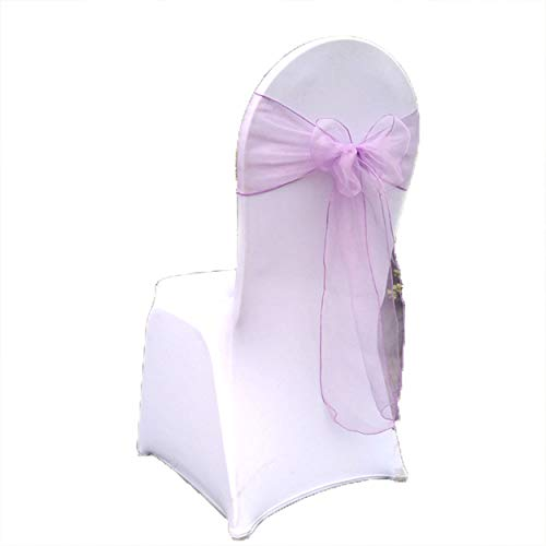 """Special Bridal Pack of 25 Pieces 7""""x108"""" Organza Chair Sashes Bow Sashes for Wedding and Events Supplies Party Decoration Purple NO.74"""