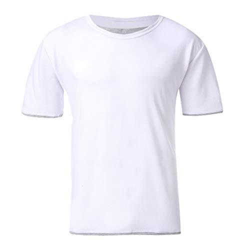OrchidAmor 2019 Summer Mens Fashion Casual Solid Color Fake Two Short-Sleeved T-Shirt Blouse Top White ()