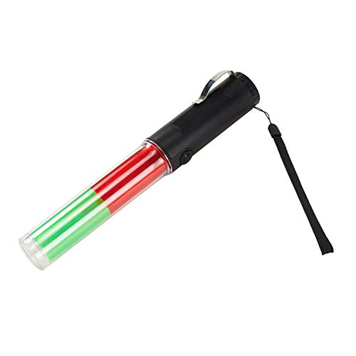 (Mufly Safety Traffic Baton with Light Discoloration for Marshalling and Traffic Wands,Discoloration 19 LED Flashing Light Signal Indicator Stick (red&green))