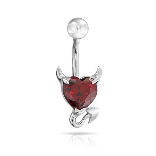 Devil Belly Ring - Bling Jewelry Devil Heart Belly Button Navel Ring Body Piercing Bars Simulated Garnet CZ 316L Steel 14