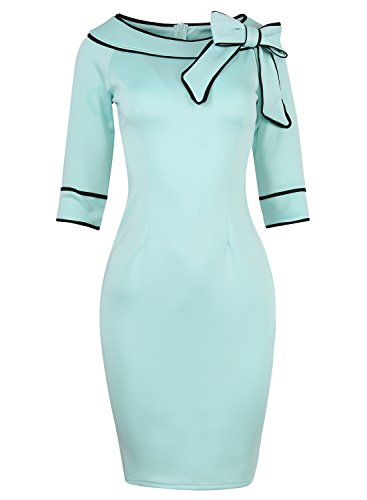 50s Style Clothing (Women's 1950s Retro Half Sleeve Bow Cocktail Party Evening Dress Work Pencil Dress 172(M, Blue))