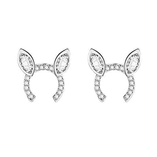 Sinfu Earrings,Creative Cute Rabbit Ear Crystal Stud Earrings Jacket Earrings Simple Chic Earrings Jewelry Accessories for Women Girls (A)
