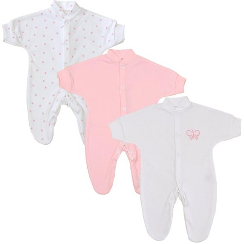BabyPrem Baby Pack of 3 Sleepers Footies Preemie Clothes 1.5-7.5lb Pink Spot P2