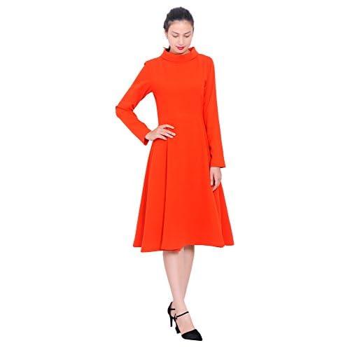 f6beaf96389 hot sale Mary Crafts Womens Winter High Neck Long Sleeve A Line Midi Dresses
