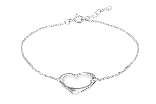 Honolulu Jewelry Company Sterling Silver Open Heart with Cable Chain Bracelet ()