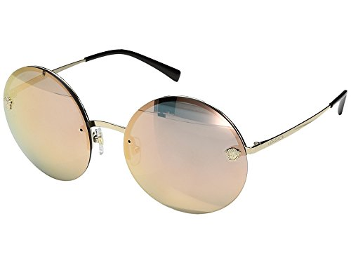 Versace Women's VE2176 Pale Gold/Grey Mirror Rose Gold - Sunglasses Versace Clear