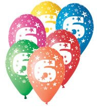Birthday Balloons X 10 Pcs Happy 6th Assorted Colours