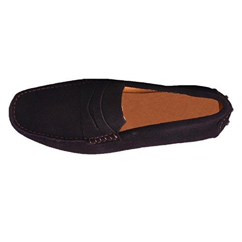 Santimon Heren Lederen Softsole Mocassin Rijden Loafer Slip Op Slippers Schoenen Koffie