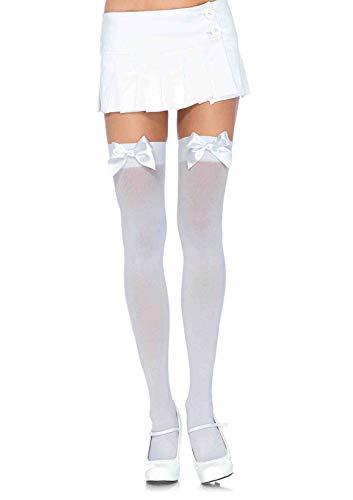 Bow High School Halloween (Leg Avenue Women's Satin Bow Accent Thigh Highs,)