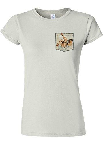 用心するクロール許さないPin Up Girl in Pocket Funny Novelty White Women T Shirt Top-XL