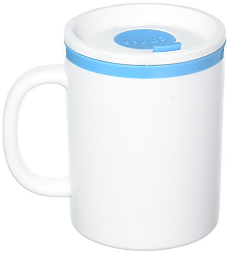 Copco 2510-1120 Iconic Double Wall Insulated Desk Mug, 16-Ounce, White/Teal