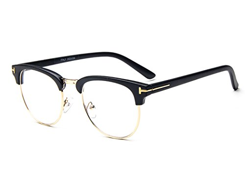 dking-unisex-vintage-inspired-classic-half-frame-horn-rimmed-clear-lens-black-gold