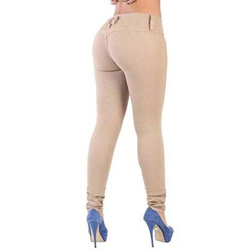 Jean Pantalones Slim Stretch pitillo Fit Vaqueros de mujer mujeres Beige TieNew para Pantalones Hipsters mezclilla Slimline Mujer Skinny qwz5daw