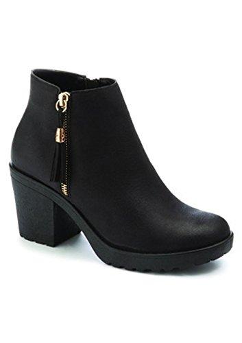 Heel 3 Size Shoes High Womens Block Platform Mid Boots Ankle Ladies Low Chelsea 4watCgaq