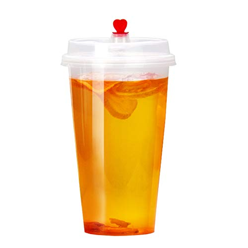 Hot&Cold Plastic Cups with Lids, Airtight, Leak Proof, Microwave&Dishwasher Safe, Stackable, Clear [20 Sets] ()