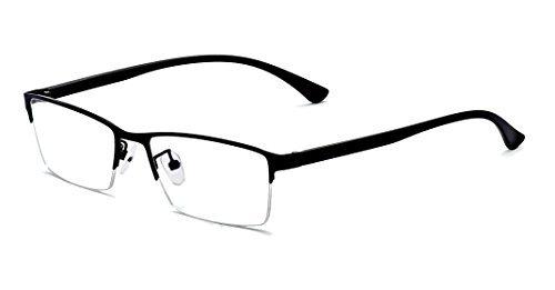 (ALWAYSUV Computer Blue Blocker Reading Glasses TR90 Black Half Full Frame Professer Readers Glasses for Men and Women 1.0)