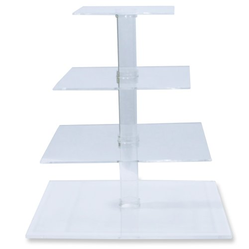 4-Tier Stacked Party Cupcake and Dessert Tower - Clear Acrylic Cake Stand (Square) - BY OFEH (Cakes For Dessert Christmas)