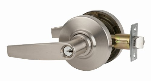 Schlage commercial AL53PDJUP619 AL Series Grade 2 Cylindrical Lock, Entry Function Turn/Push Button Locking, Jupiter Lever Design, Satin Nickel Finish by Schlage Lock Company